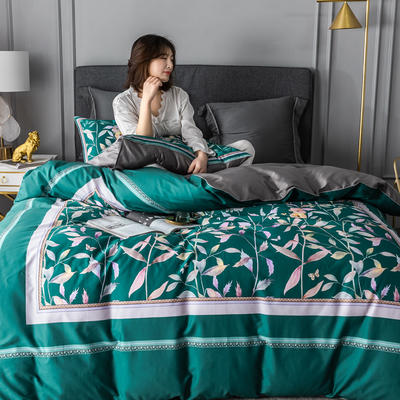 2020新款60支长绒棉数码印花四件套 1.8m(6英尺)床单款 丛林密语墨绿