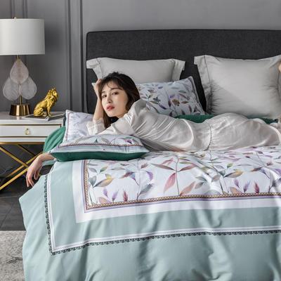 2020新款60支长绒棉数码印花四件套 1.8m(6英尺)床单款 丛林密语浅绿