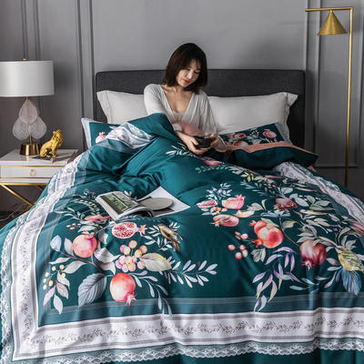 2020新款60支长绒棉数码印花四件套 1.8m(6英尺)床单款 风雅小筑绿