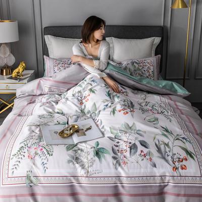 2020新款60支长绒棉数码印花四件套 1.8m(6英尺)床单款 花影钰淑豆沙