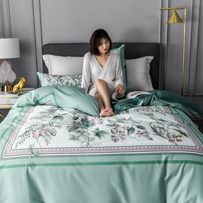 2020新款60支长绒棉数码印花四件套 1.8m(6英尺)床单款 花影钰淑绿
