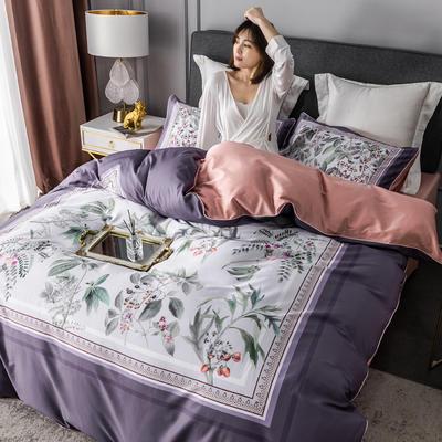 2020新款60支长绒棉数码印花四件套 1.8m(6英尺)床单款 花影钰淑紫