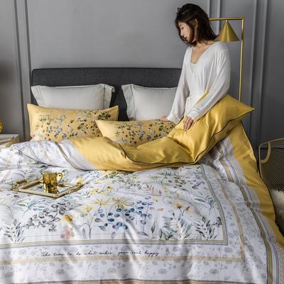 2020新款60支长绒棉数码印花四件套 1.8m(6英尺)床单款 恋暮阳光黄