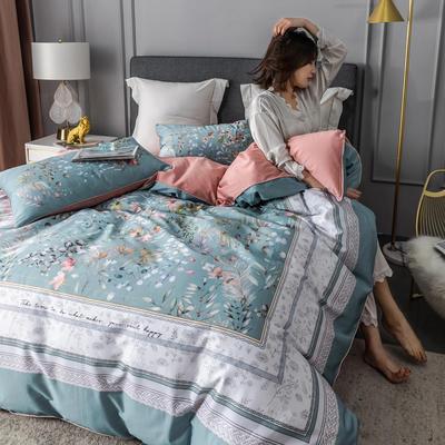 2020新款60支长绒棉数码印花四件套 1.8m(6英尺)床单款 恋暮阳光蓝