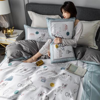 2020新款60支长绒棉数码印花四件套 1.8m(6英尺)床单款 小小花园蓝