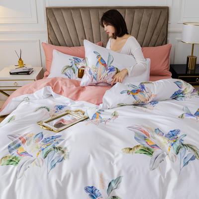 2020新款60支长绒棉数码印花四件套 1.5m(5英尺)床单款 醉花都白