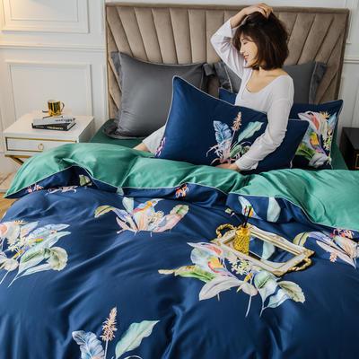 2020新款60支长绒棉数码印花四件套 1.8m(6英尺)床单款 醉花都蓝