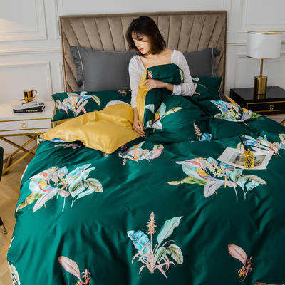 2020新款60支长绒棉数码印花四件套 1.5m(5英尺)床单款 醉花都绿