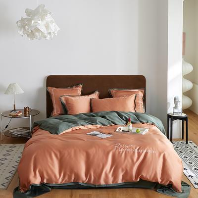 2020新款60天丝四件套 1.5m床单款四件套 浅橙绿