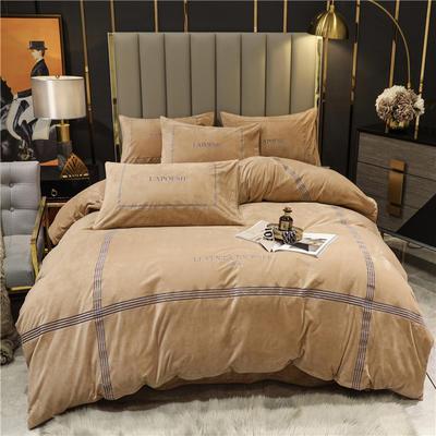 2020新款轻奢线条刺绣宝宝绒水晶绒四件套—可可西里 1.8m床单款四件套 可可西里-香槟