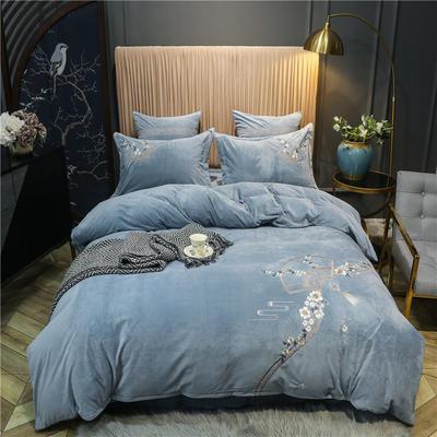 2020新款中式刺绣宝宝绒水晶绒四件套 1.8m床单款四件套 思境中 绅士蓝