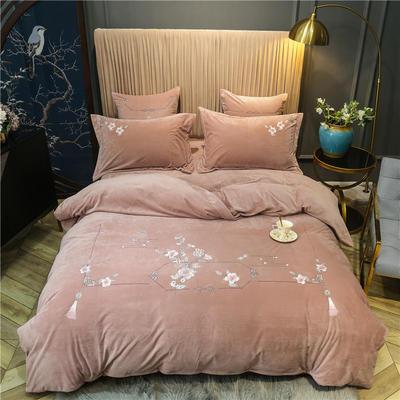 2020新款中式刺绣宝宝绒水晶绒四件套 1.8m床单款四件套 弄清影 杏粉