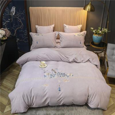 2020新款中式刺绣宝宝绒水晶绒四件套 1.8m床单款四件套 归如梦 淡紫