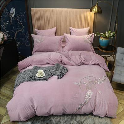 2020新款中式刺绣宝宝绒水晶绒四件套 1.8m床单款四件套 思境中 粉紫