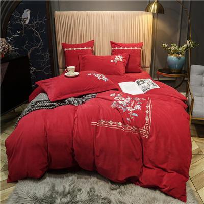 2020新款中式刺绣宝宝绒水晶绒四件套 1.8m床单款四件套 闻落花 中国红