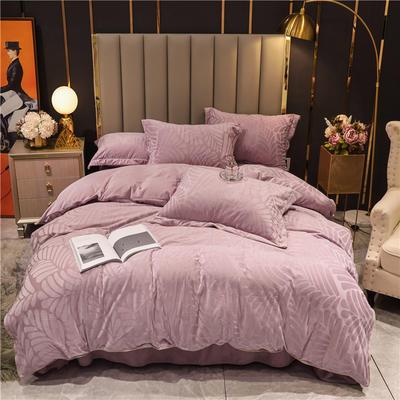 2020新款宝宝绒刷花保暖四件套—叶之语 1.5m床单款四件套 粉紫