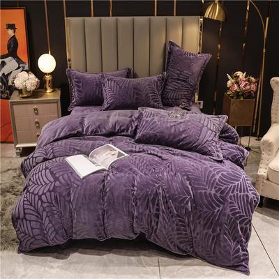 2020新款宝宝绒刷花保暖四件套—叶之语 1.5m床单款四件套 藤紫