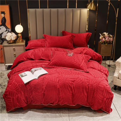 2020新款宝宝绒刷花保暖四件套—叶之语 1.5m床单款四件套 中国红
