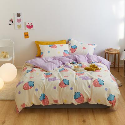 2021新款全棉小清新系列四件套 1.5m床单款四件套 小仙莓-白