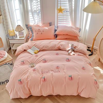 2021新款全棉色织水洗棉绣花四件套—桃子 1.5m床单款四件套 桃子 樱花粉