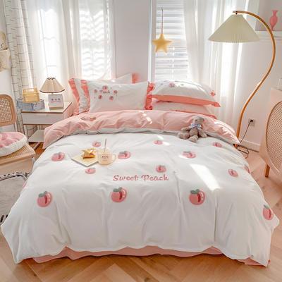 2021新款全棉色织水洗棉绣花四件套—桃子 1.5m床单款四件套 桃子浪漫白