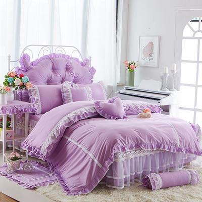 2017年韩版蕾丝床裙四件套-唯美 1.2m床裙款(三件套) 唯美-浅紫