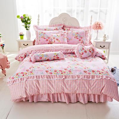 2017年韩版蕾丝床裙四件套-爱的花园 1.2m床裙款(三件套) 爱的花园粉