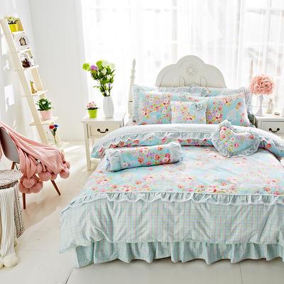 2017年韩版蕾丝床裙四件套-爱的花园 1.2m床裙款(三件套) 爱的花园兰
