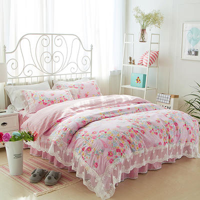 2017年韩版蕾丝床裙四件套-花香-粉 1.2m床裙款(三件套) 花香-粉