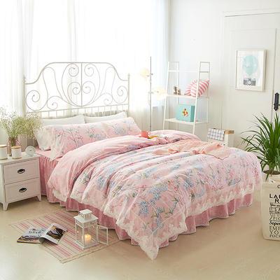 2017年韩版蕾丝床裙四件套-花语 1.2m床裙款(三件套) 花语粉