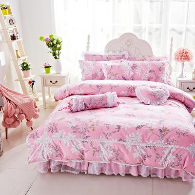 2017年韩版蕾丝床裙四件套-梦丽园 1.2m床裙款(三件套) 梦丽园粉
