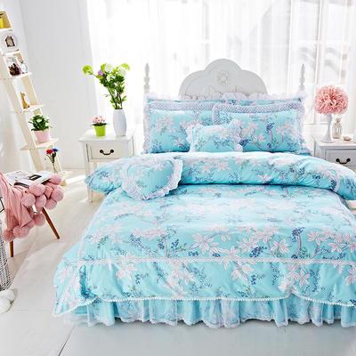 2017年韩版蕾丝床裙四件套-梦丽园 1.2m床裙款(三件套) 梦丽园兰