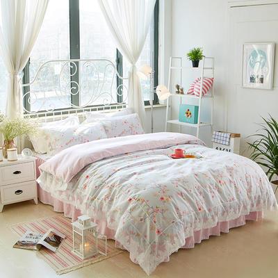 2017年韩版蕾丝床裙四件套-梦冉花溪 1.2m床裙款(三件套) 梦冉花溪