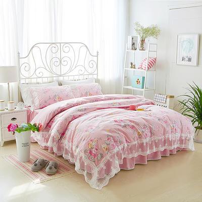 2017年韩版蕾丝床裙四件套-梦语-粉 1.2m床裙款(三件套) 梦语-粉