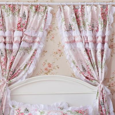 韩版套件小配件-窗帘 爱丁堡玫瑰粉白