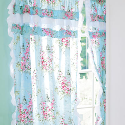 韩版套件小配件-双层加纱窗帘 爱丁堡玫瑰