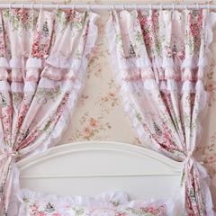 韩版套件小配件-双层加纱窗帘 爱丁堡玫瑰粉白