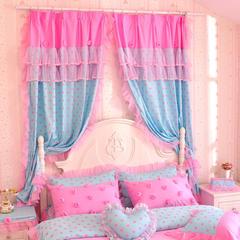 韩版套件小配件-双层加纱窗帘 波点玫瑰粉