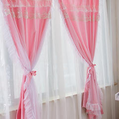 韩版套件小配件-双层加纱窗帘 公主坊粉