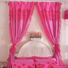 韩版套件小配件-双层加纱窗帘 红玫瑰