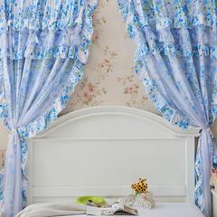韩版套件小配件-双层加纱窗帘 樱花蓝