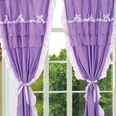 韩版套件小配件-双层加纱窗帘 紫色迷情