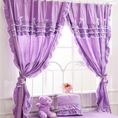 韩版套件小配件-双层加纱窗帘 紫色物语