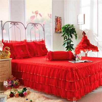 玫瑰花语夹棉床裙 爱心枕(含芯) 玫瑰花语