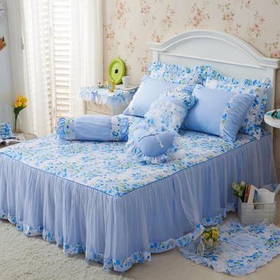 老款韩版蕾丝单床裙 120cmx200cm 樱花蓝
