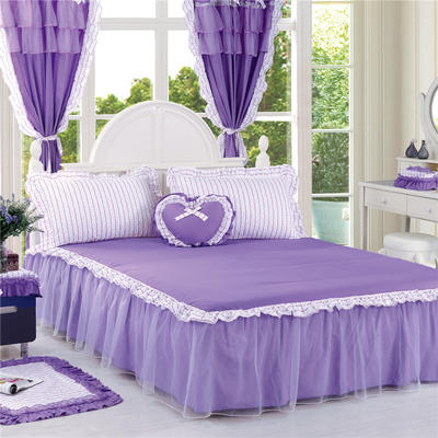 老款韩版蕾丝单床裙 120cmx200cm 紫色迷情