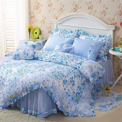 2016年韩版纯棉四件套 1.2m床裙款(三件套) 樱花蓝