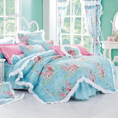 2016年韩版纯棉四件套 1.2m床裙款(三件套) 爱丁堡玫瑰蓝