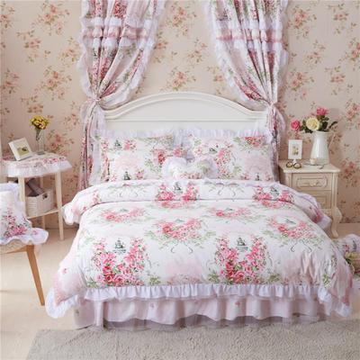 2016年韩版纯棉四件套 1.2m床裙款(三件套) 爱丁堡玫瑰粉白