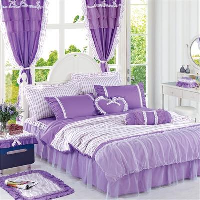 2016年韩版纯棉四件套 1.2m床裙款(三件套) 紫色迷情